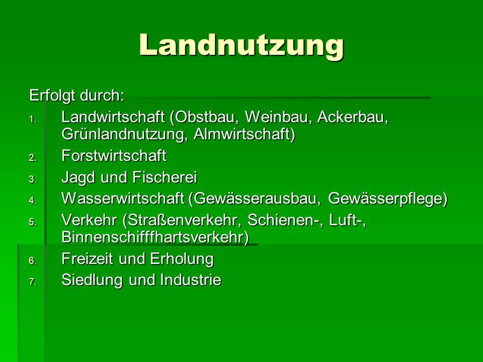 Landnutzung Erfolgt durch: 1. Landwirtschaft (Obstbau, Weinbau, Ackerbau, Grünlandnutzung, Almwirtschaft) 2. Forstwirtschaft 3. Jagd und Fischerei 4.