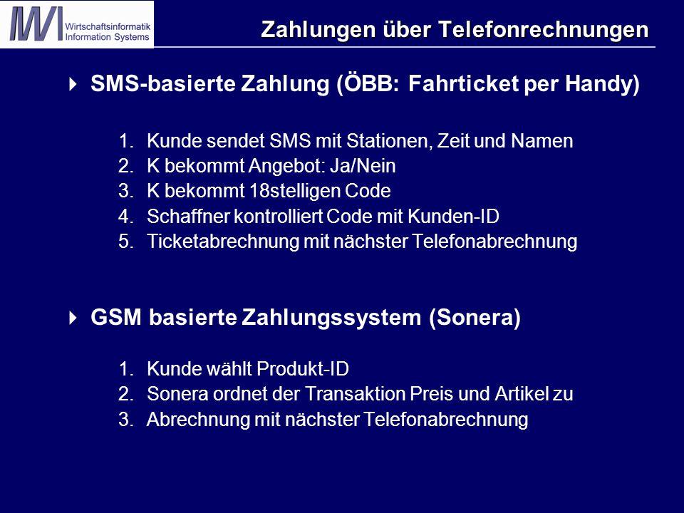 Zahlungen über Telefonrechnungen  SMS-basierte Zahlung (ÖBB: Fahrticket per Handy) 1.Kunde sendet SMS mit Stationen, Zeit und Namen 2.K bekommt Angeb