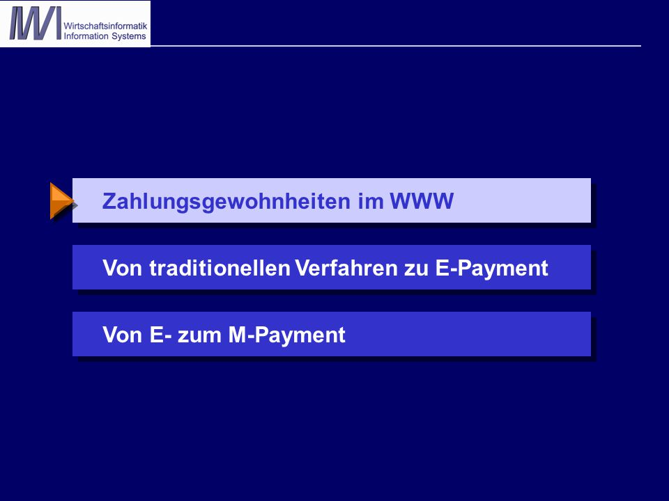 Zahlungsgewohnheiten im WWW % (Mehrfachnennungen möglich) Viadrina Univ.: 150 Unternehmen inTouch: 200 Online-Shops Fittkau & Maaß: Aussagen von 8.738 Kunden