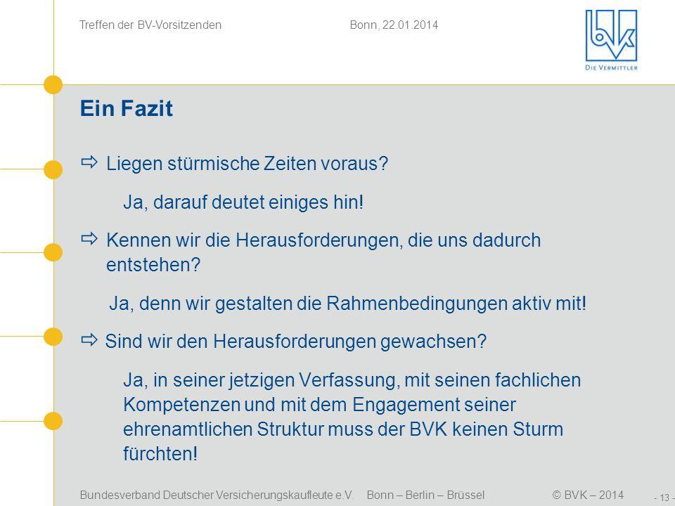 Bundesverband Deutscher Versicherungskaufleute e.V. Bonn – Berlin – Brüssel© BVK – 2014 Treffen der BV-Vorsitzenden Bonn, 22.01.2014 - 13 - Ein Fazit