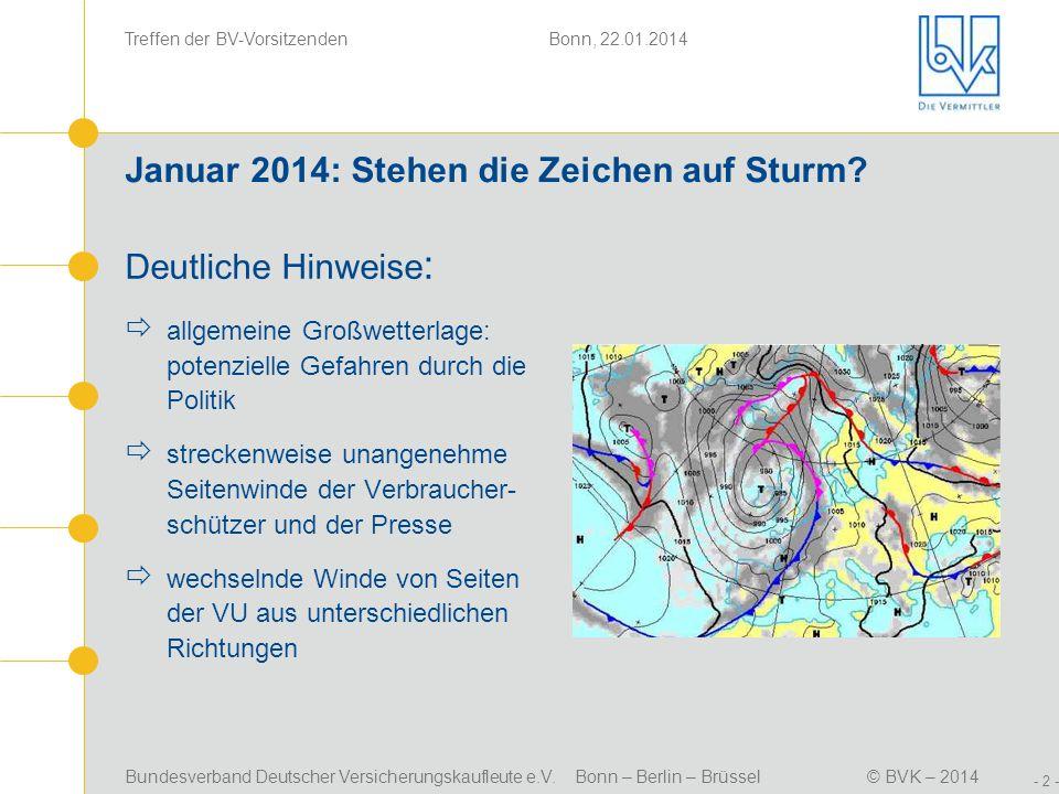 Bundesverband Deutscher Versicherungskaufleute e.V. Bonn – Berlin – Brüssel© BVK – 2014 Treffen der BV-Vorsitzenden Bonn, 22.01.2014 - 2 - Januar 2014