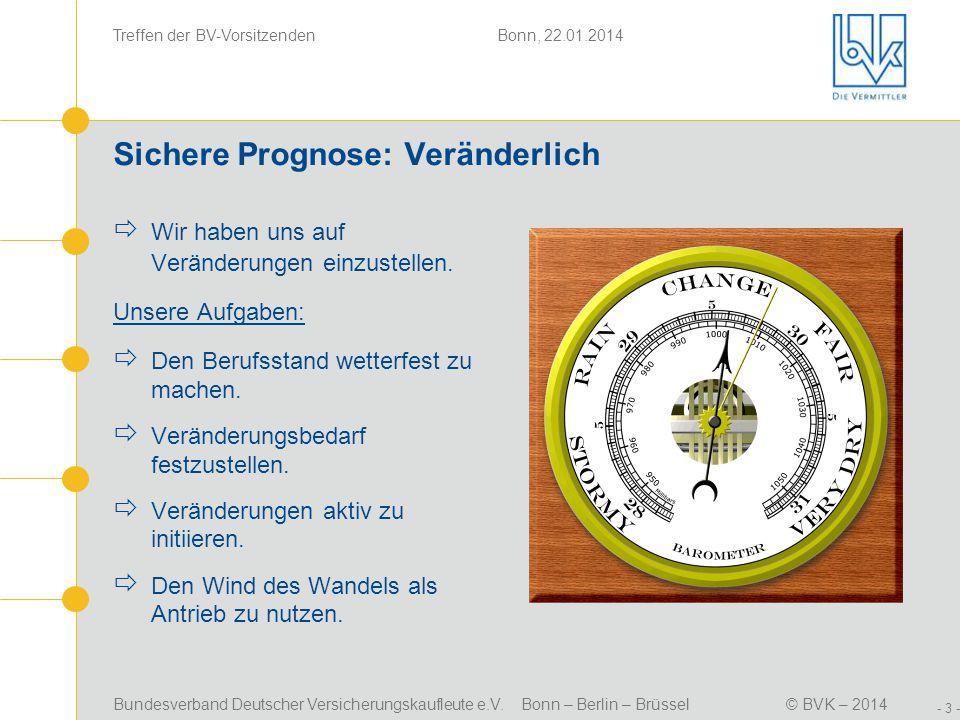 Bundesverband Deutscher Versicherungskaufleute e.V. Bonn – Berlin – Brüssel© BVK – 2014 Treffen der BV-Vorsitzenden Bonn, 22.01.2014 - 3 - Sichere Pro