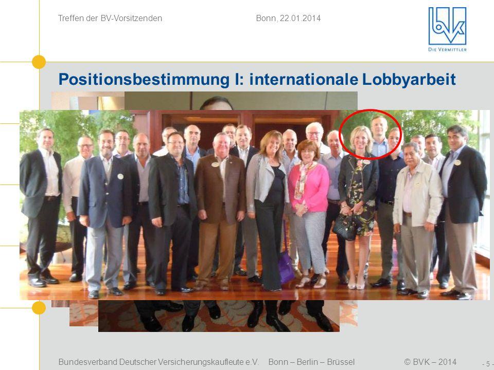Bundesverband Deutscher Versicherungskaufleute e.V. Bonn – Berlin – Brüssel© BVK – 2014 Treffen der BV-Vorsitzenden Bonn, 22.01.2014 - 5 - Positionsbe