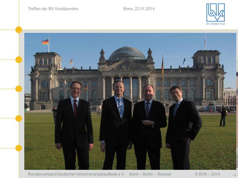 Bundesverband Deutscher Versicherungskaufleute e.V. Bonn – Berlin – Brüssel© BVK – 2014 Treffen der BV-Vorsitzenden Bonn, 22.01.2014 - 6 - Positionsbe