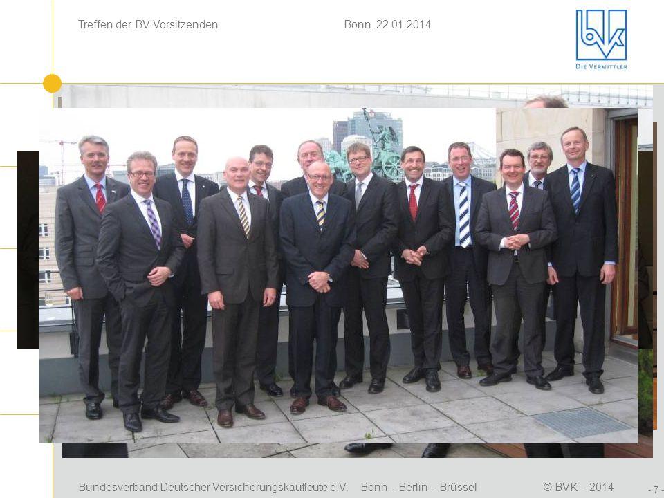 Bundesverband Deutscher Versicherungskaufleute e.V. Bonn – Berlin – Brüssel© BVK – 2014 Treffen der BV-Vorsitzenden Bonn, 22.01.2014 - 7 - Positionsbe