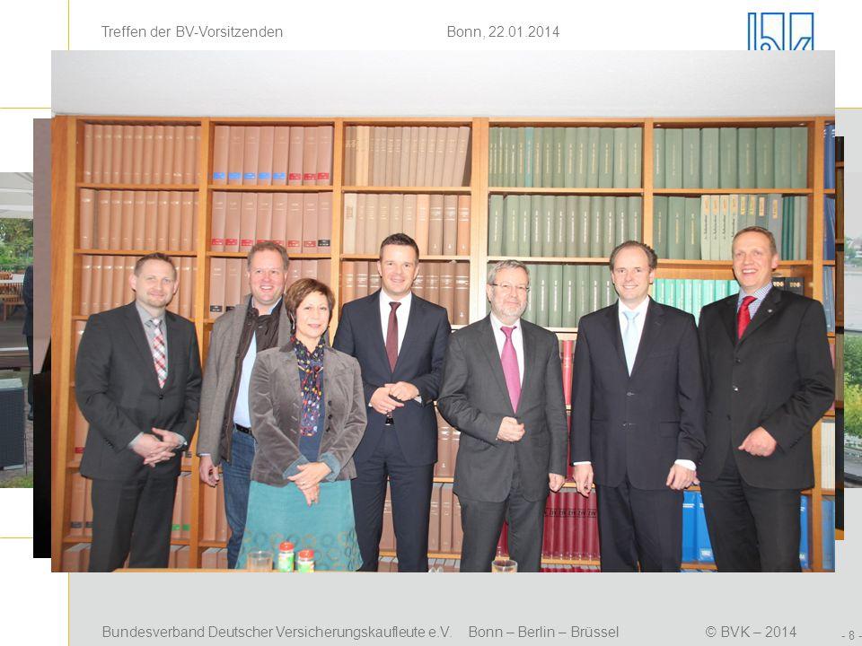 Bundesverband Deutscher Versicherungskaufleute e.V. Bonn – Berlin – Brüssel© BVK – 2014 Treffen der BV-Vorsitzenden Bonn, 22.01.2014 - 8 - Positionsbe