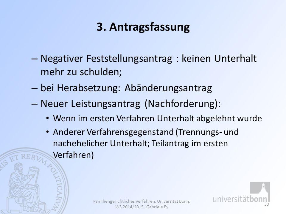 3. Antragsfassung – Negativer Feststellungsantrag : keinen Unterhalt mehr zu schulden; – bei Herabsetzung: Abänderungsantrag – Neuer Leistungsantrag (