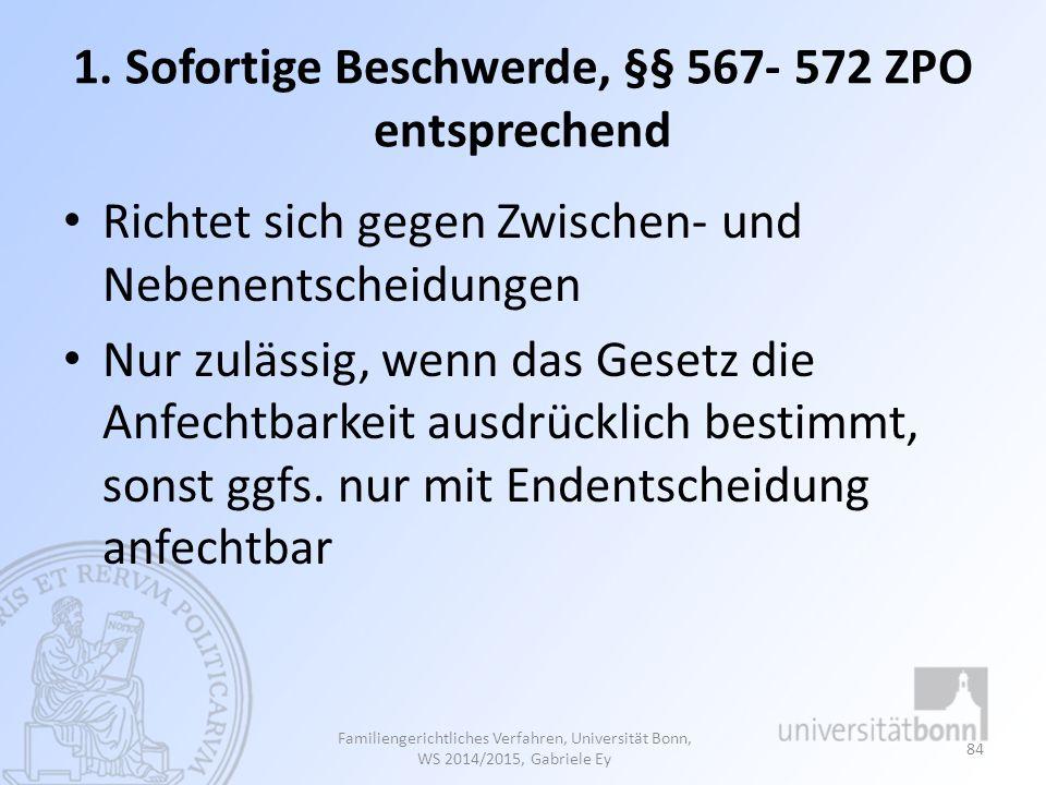 1. Sofortige Beschwerde, §§ 567- 572 ZPO entsprechend Richtet sich gegen Zwischen- und Nebenentscheidungen Nur zulässig, wenn das Gesetz die Anfechtba