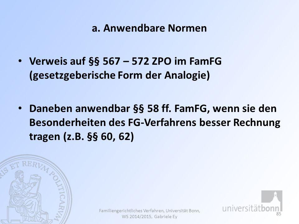 a. Anwendbare Normen Verweis auf §§ 567 – 572 ZPO im FamFG (gesetzgeberische Form der Analogie) Daneben anwendbar §§ 58 ff. FamFG, wenn sie den Besond