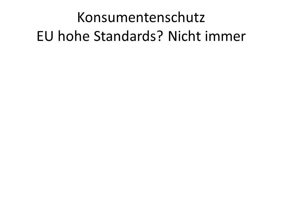 Konsumentenschutz EU hohe Standards? Nicht immer