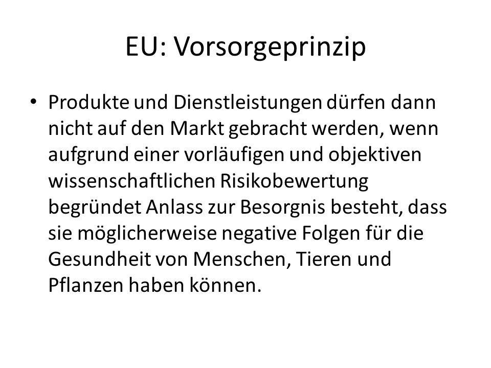 EU: Vorsorgeprinzip Produkte und Dienstleistungen dürfen dann nicht auf den Markt gebracht werden, wenn aufgrund einer vorläufigen und objektiven wiss