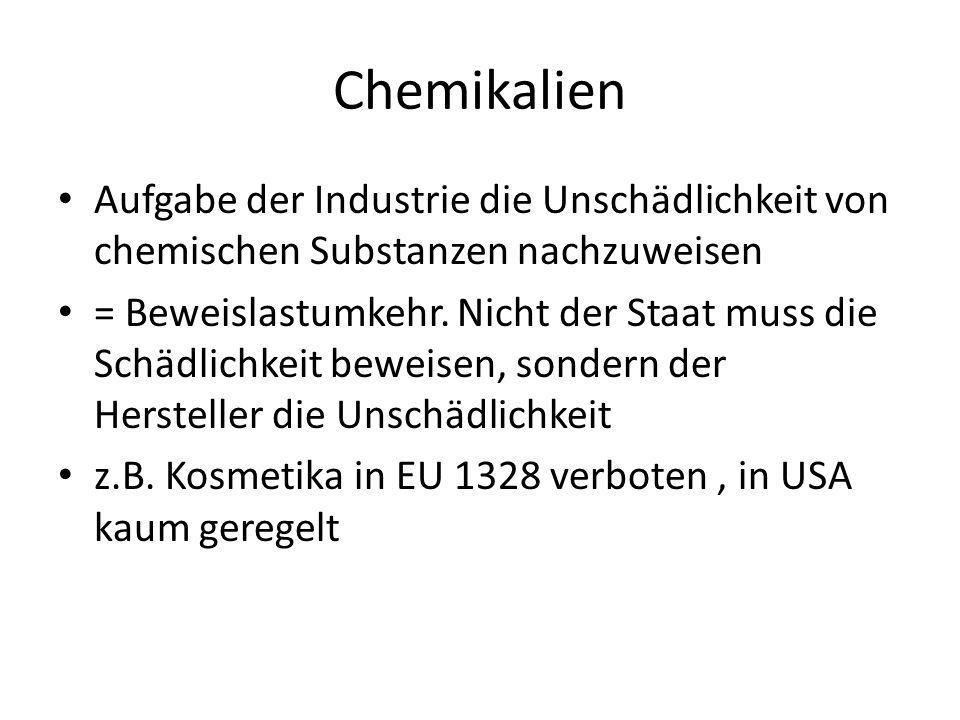 Chemikalien Aufgabe der Industrie die Unschädlichkeit von chemischen Substanzen nachzuweisen = Beweislastumkehr. Nicht der Staat muss die Schädlichkei