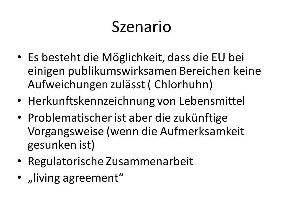 """Szenario Es besteht die Möglichkeit, dass die EU bei einigen publikumswirksamen Bereichen keine Aufweichungen zulässt ( Chlorhuhn) Herkunftskennzeichnung von Lebensmittel Problematischer ist aber die zukünftige Vorgangsweise (wenn die Aufmerksamkeit gesunken ist) Regulatorische Zusammenarbeit """"living agreement"""