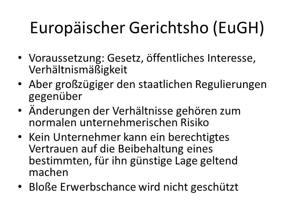 Europäischer Gerichtsho (EuGH) Voraussetzung: Gesetz, öffentliches Interesse, Verhältnismäßigkeit Aber großzügiger den staatlichen Regulierungen gegen