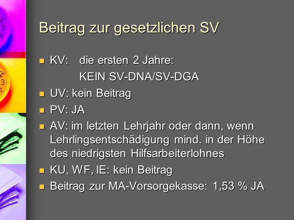 Beitrag zur gesetzlichen SV KV: die ersten 2 Jahre: KV: die ersten 2 Jahre: KEIN SV-DNA/SV-DGA UV: kein Beitrag UV: kein Beitrag PV: JA PV: JA AV: im
