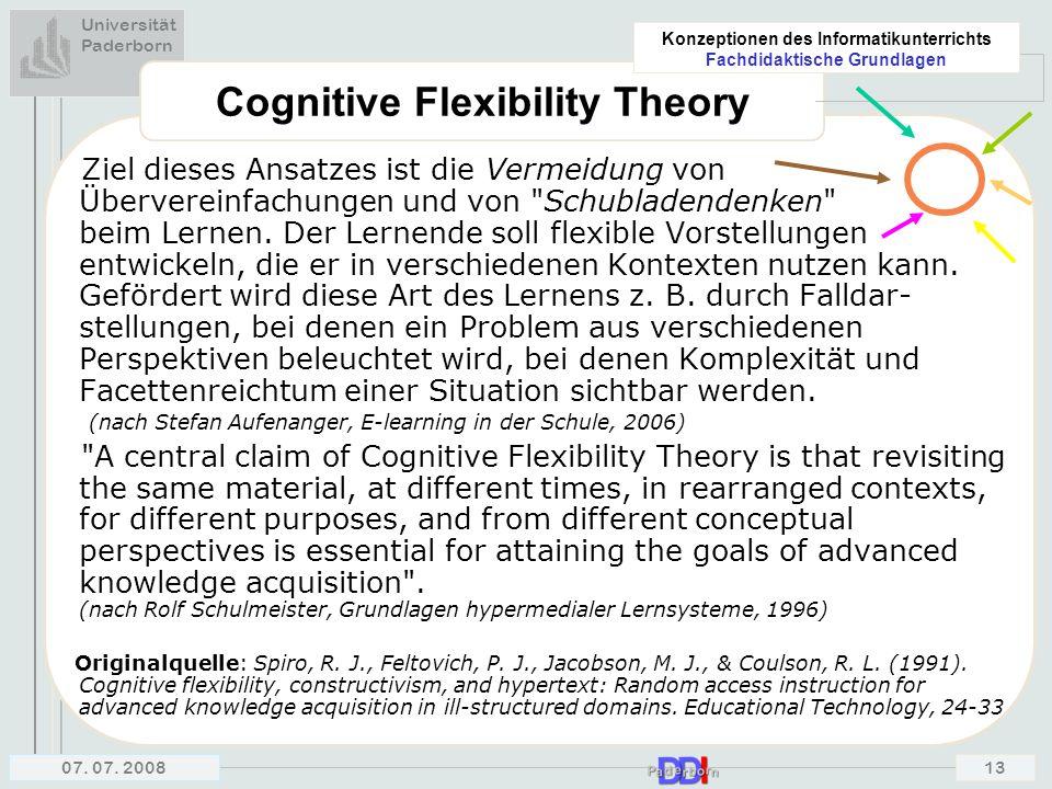 Universität Paderborn Konzeptionen des Informatikunterrichts Fachdidaktische Grundlagen 07. 07. 200813 Cognitive Flexibility Theory Ziel dieses Ansatz