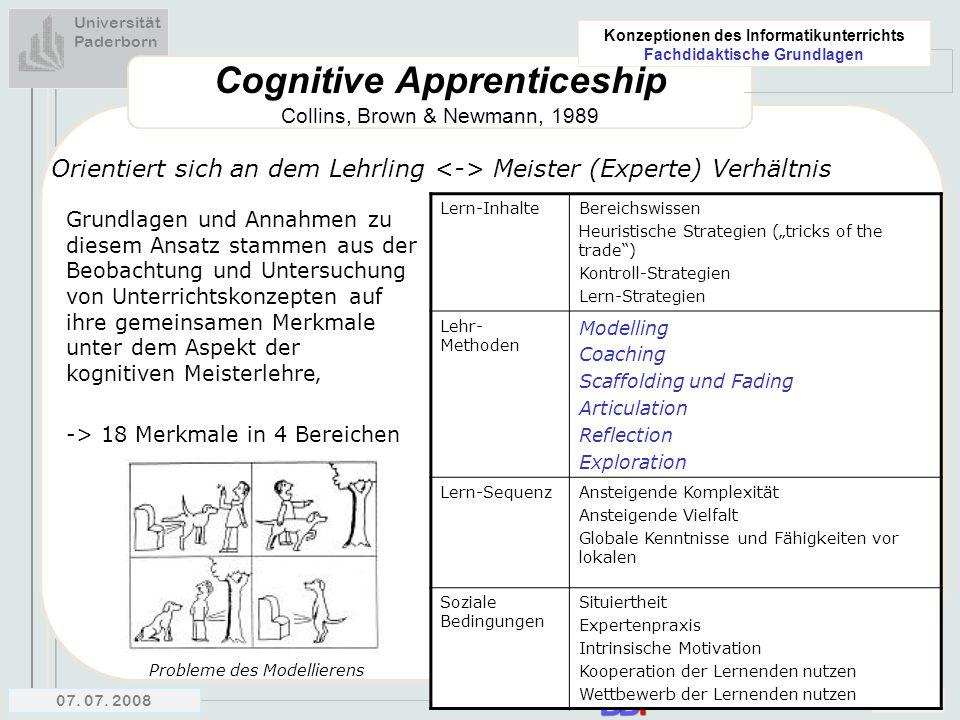 Universität Paderborn Konzeptionen des Informatikunterrichts Fachdidaktische Grundlagen 07. 07. 200814 Cognitive Apprenticeship Collins, Brown & Newma