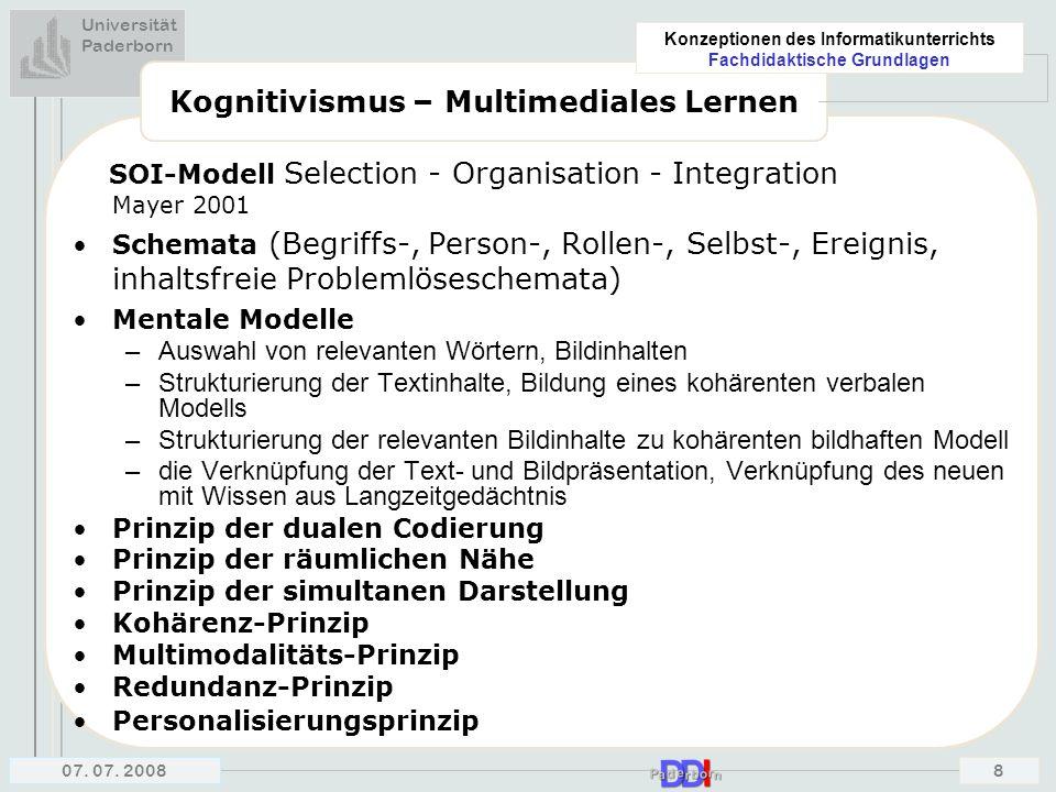 Universität Paderborn Konzeptionen des Informatikunterrichts Fachdidaktische Grundlagen 07. 07. 20088 Kognitivismus – Multimediales Lernen SOI-Modell