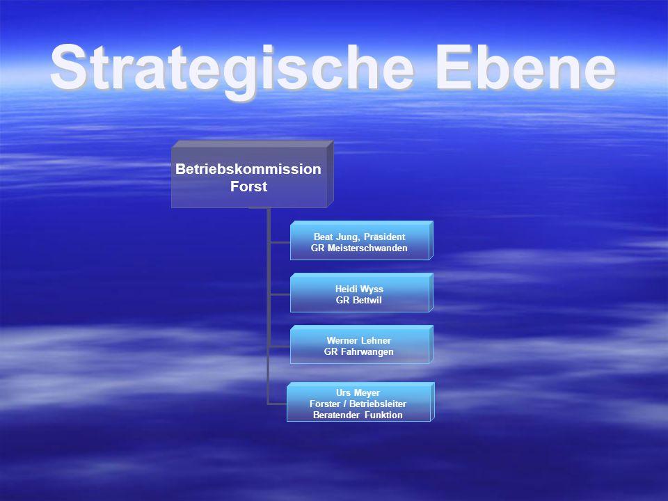 Strategische Ebene Betriebskommission Forst Beat Jung, Präsident GR Meisterschwanden Heidi Wyss GR Bettwil Werner Lehner GR Fahrwangen Urs Meyer Förster / Betriebsleiter Beratender Funktion