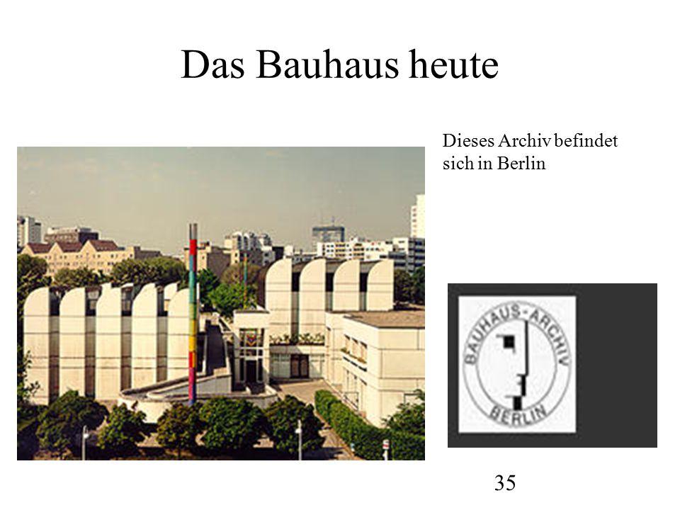 35 Das Bauhaus heute Dieses Archiv befindet sich in Berlin