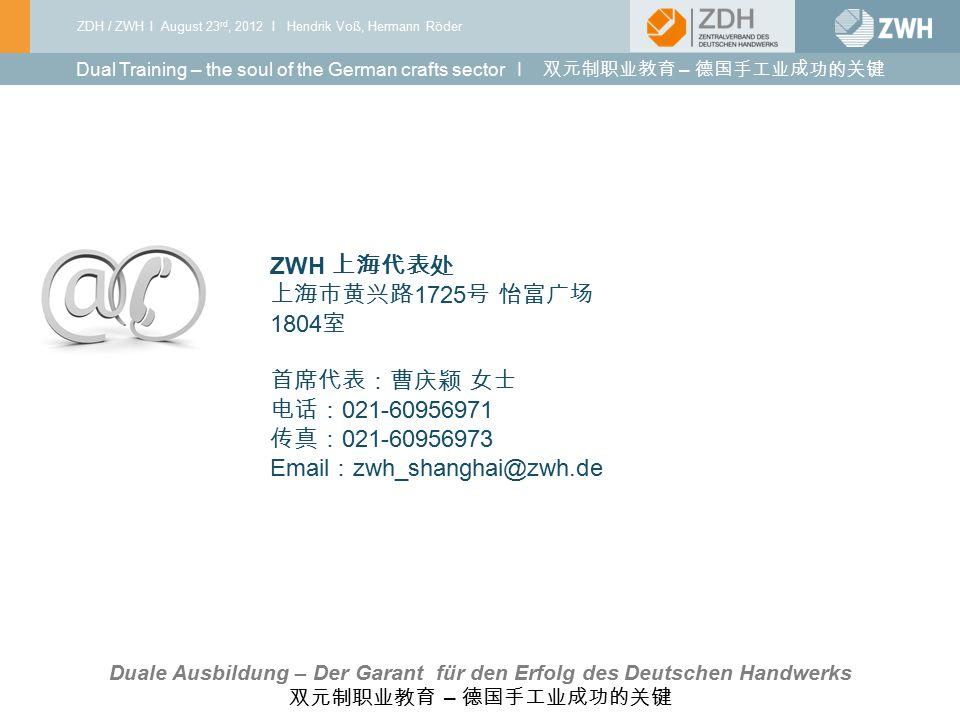 ZDH / ZWH I August 23 rd, 2012 I Hendrik Voß, Hermann Röder 03 I 2010 ZWH 上海代表处 上海市黄兴路 1725 号 怡富广场 1804 室 首席代表:曹庆颖 女士 电话: 021-60956971 传真: 021-6095697