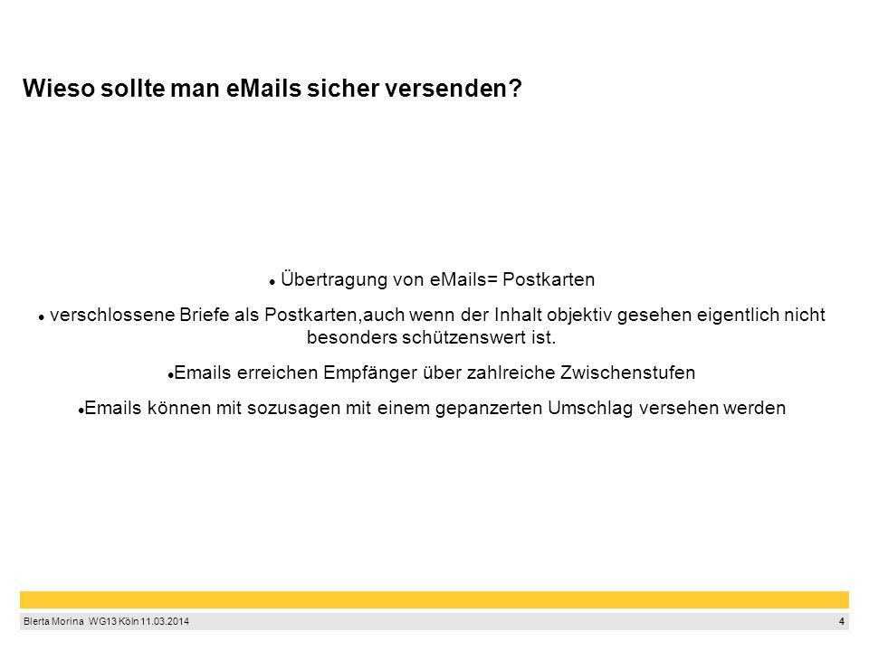 4 Blerta Morina WG13 Köln 11.03.2014 Wieso sollte man eMails sicher versenden? Übertragung von eMails= Postkarten verschlossene Briefe als Postkart