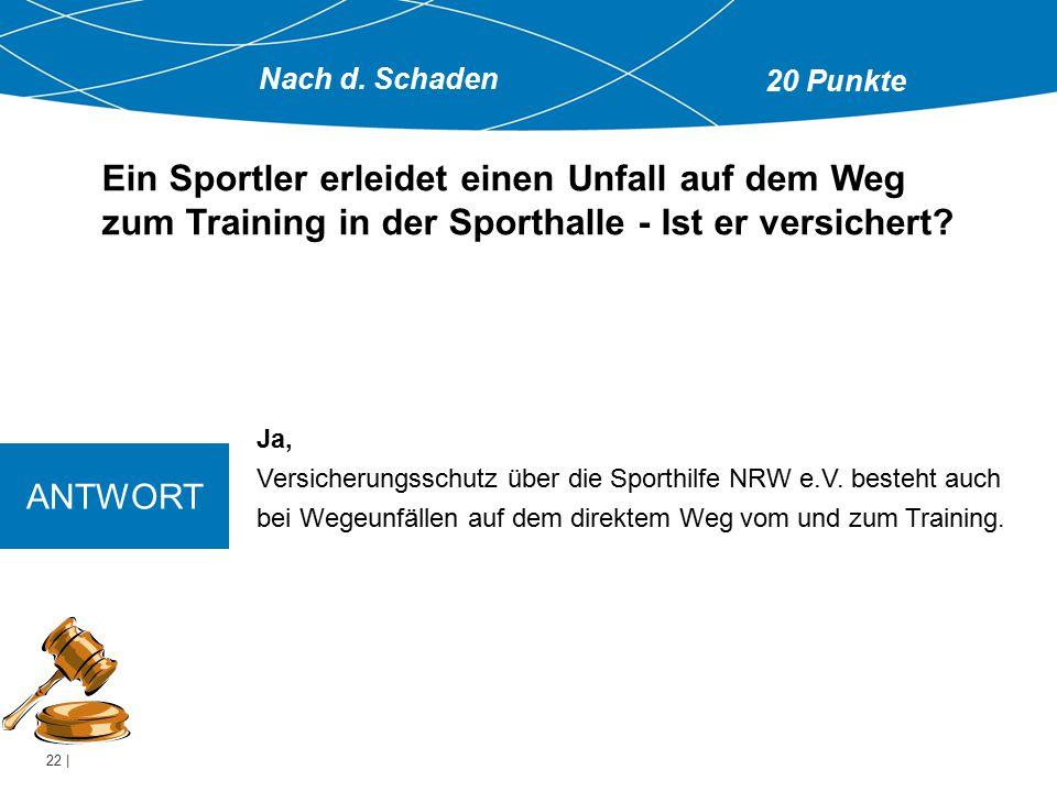 22 | Ja, Versicherungsschutz über die Sporthilfe NRW e.V. besteht auch bei Wegeunfällen auf dem direktem Weg vom und zum Training. Ein Sportler erleid
