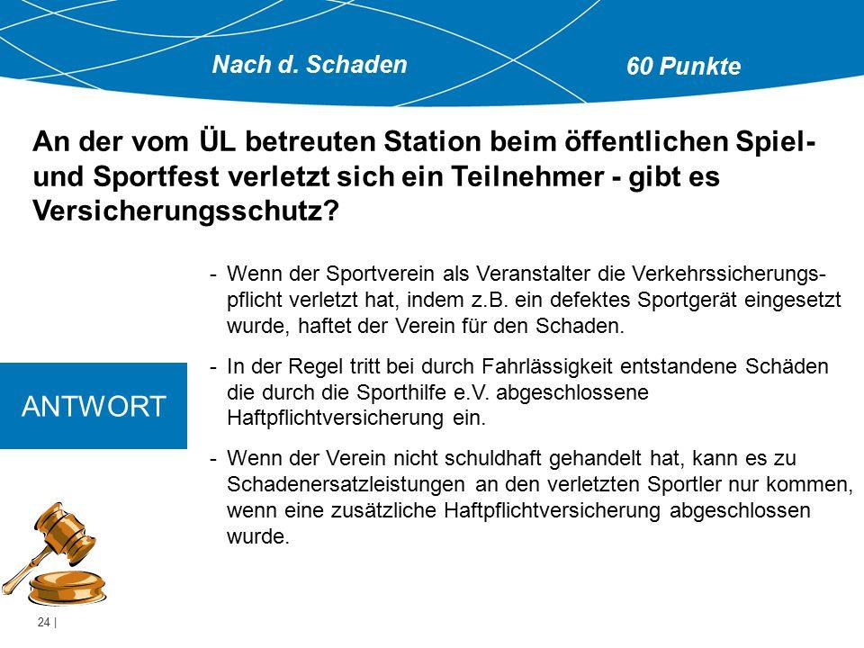 24 | -Wenn der Sportverein als Veranstalter die Verkehrssicherungs- pflicht verletzt hat, indem z.B. ein defektes Sportgerät eingesetzt wurde, haftet