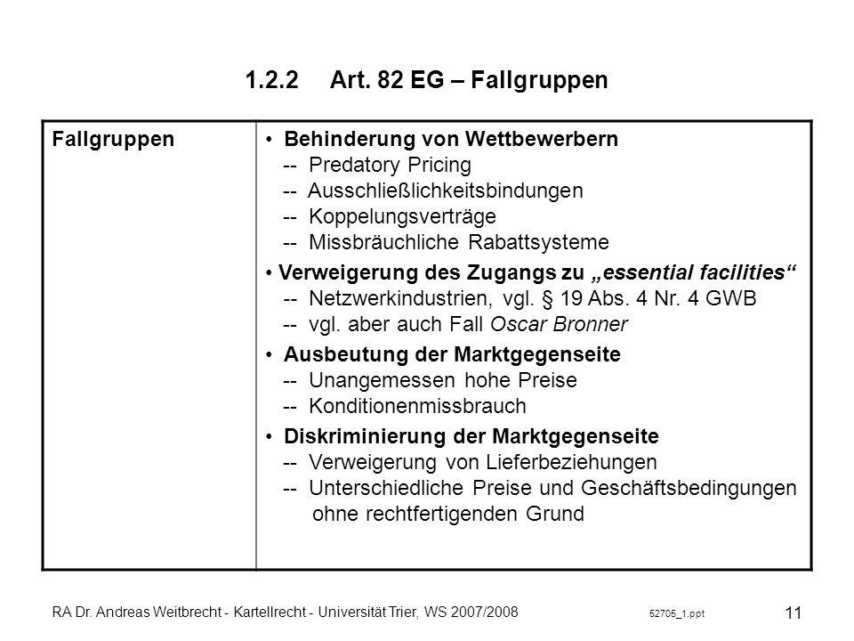 RA Dr. Andreas Weitbrecht - Kartellrecht - Universität Trier, WS 2007/2008 52705_1.ppt 11 1.2.2Art. 82 EG – Fallgruppen Fallgruppen Behinderung von We