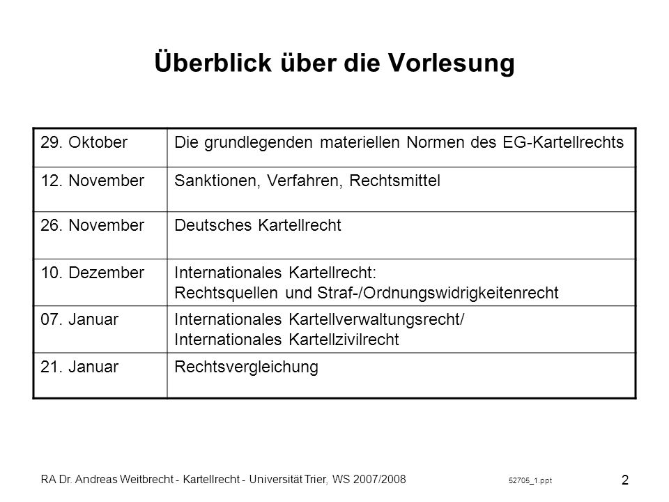 RA Dr. Andreas Weitbrecht - Kartellrecht - Universität Trier, WS 2007/2008 52705_1.ppt 2 Überblick über die Vorlesung 29. OktoberDie grundlegenden mat