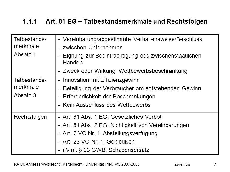 RA Dr. Andreas Weitbrecht - Kartellrecht - Universität Trier, WS 2007/2008 52705_1.ppt 7 1.1.1Art. 81 EG – Tatbestandsmerkmale und Rechtsfolgen Tatbes