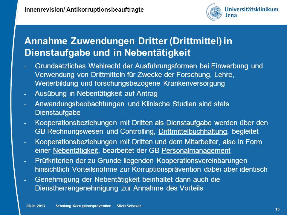 Innenrevision/ Antikorruptionsbeauftragte 13 Annahme Zuwendungen Dritter (Drittmittel) in Dienstaufgabe und in Nebentätigkeit - Grundsätzliches Wahlre