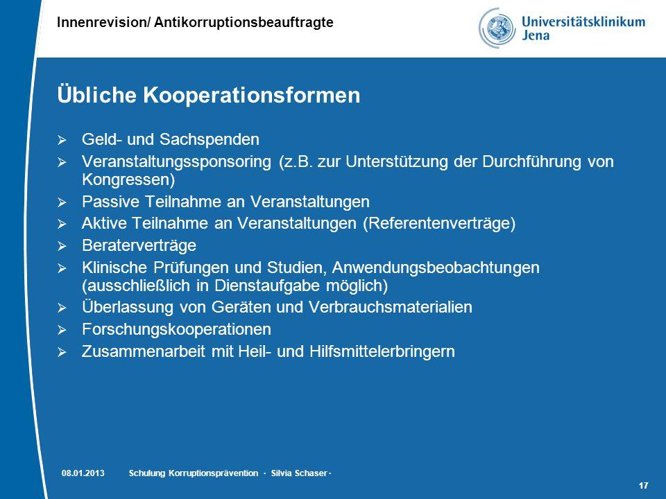 Innenrevision/ Antikorruptionsbeauftragte 17 Übliche Kooperationsformen  Geld- und Sachspenden  Veranstaltungssponsoring (z.B. zur Unterstützung der