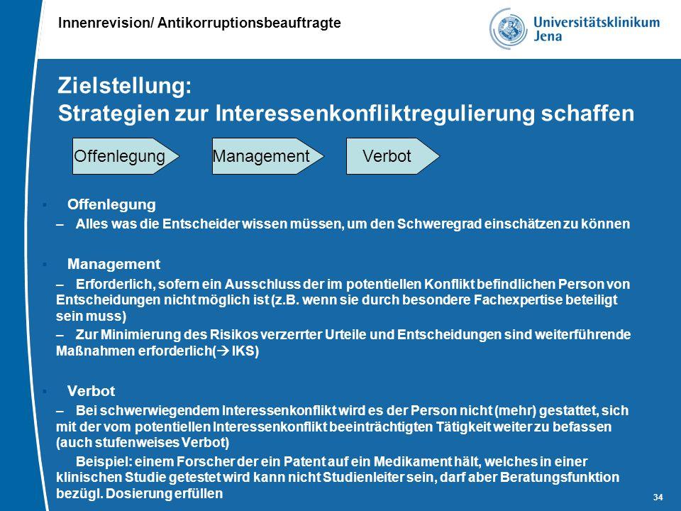 Innenrevision/ Antikorruptionsbeauftragte 34 Zielstellung: Strategien zur Interessenkonfliktregulierung schaffen  Offenlegung –Alles was die Entschei