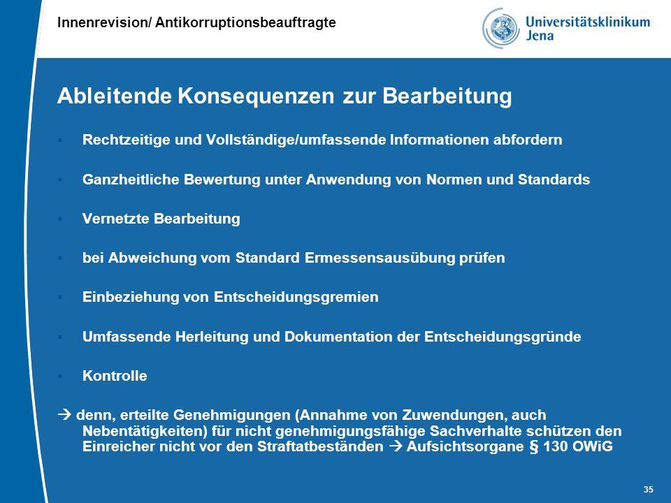 Innenrevision/ Antikorruptionsbeauftragte 35 Ableitende Konsequenzen zur Bearbeitung  Rechtzeitige und Vollständige/umfassende Informationen abforder
