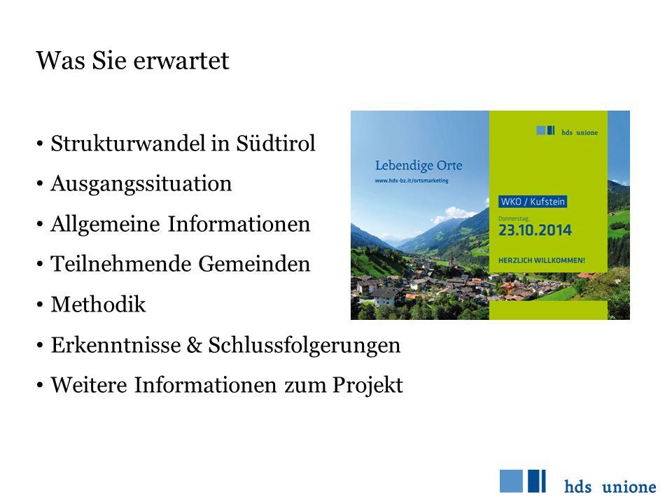 Was Sie erwartet Strukturwandel in Südtirol Ausgangssituation Allgemeine Informationen Teilnehmende Gemeinden Methodik Erkenntnisse & Schlussfolgerung
