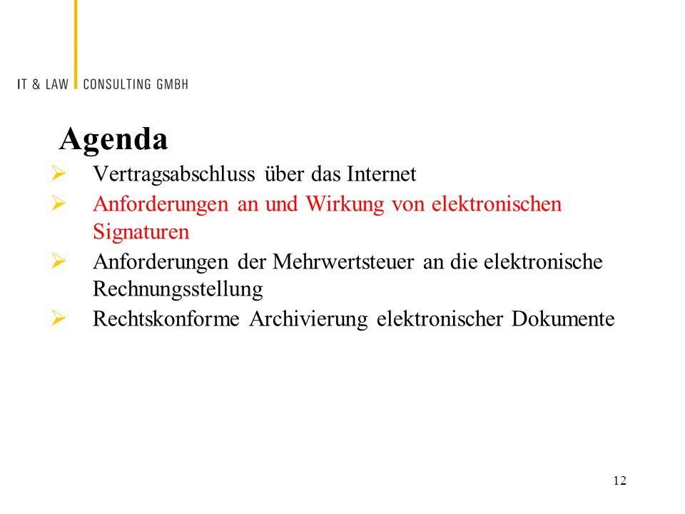 12 Agenda  Vertragsabschluss über das Internet  Anforderungen an und Wirkung von elektronischen Signaturen  Anforderungen der Mehrwertsteuer an die elektronische Rechnungsstellung  Rechtskonforme Archivierung elektronischer Dokumente