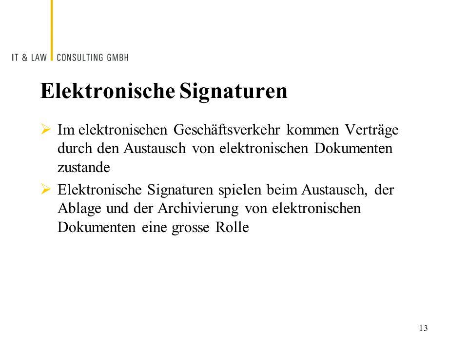  Im elektronischen Geschäftsverkehr kommen Verträge durch den Austausch von elektronischen Dokumenten zustande  Elektronische Signaturen spielen beim Austausch, der Ablage und der Archivierung von elektronischen Dokumenten eine grosse Rolle Elektronische Signaturen 13