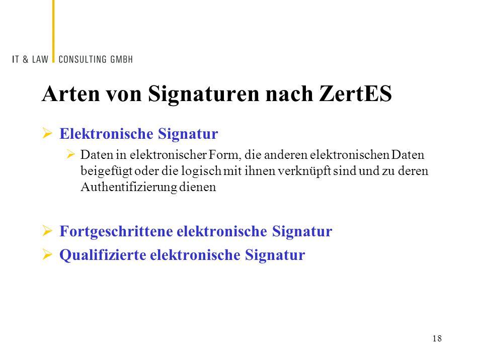 Arten von Signaturen nach ZertES  Elektronische Signatur  Daten in elektronischer Form, die anderen elektronischen Daten beigefügt oder die logisch mit ihnen verknüpft sind und zu deren Authentifizierung dienen  Fortgeschrittene elektronische Signatur  Qualifizierte elektronische Signatur 18