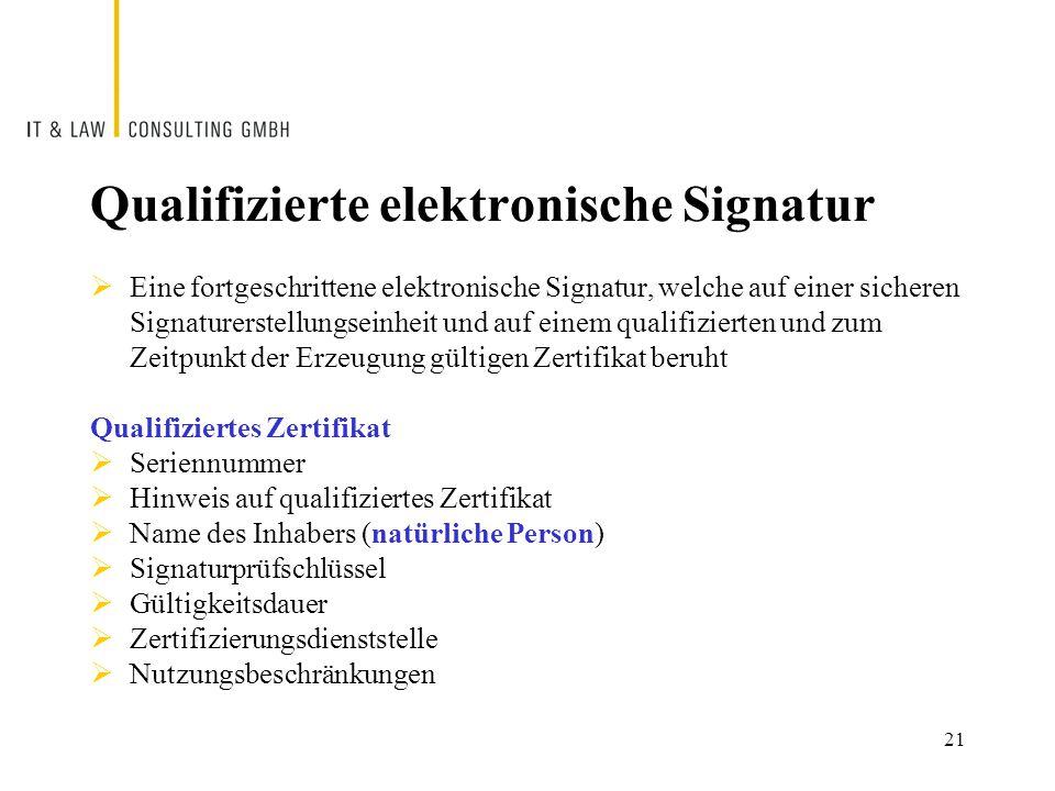 Qualifizierte elektronische Signatur  Eine fortgeschrittene elektronische Signatur, welche auf einer sicheren Signaturerstellungseinheit und auf einem qualifizierten und zum Zeitpunkt der Erzeugung gültigen Zertifikat beruht Qualifiziertes Zertifikat  Seriennummer  Hinweis auf qualifiziertes Zertifikat  Name des Inhabers (natürliche Person)  Signaturprüfschlüssel  Gültigkeitsdauer  Zertifizierungsdienststelle  Nutzungsbeschränkungen 21