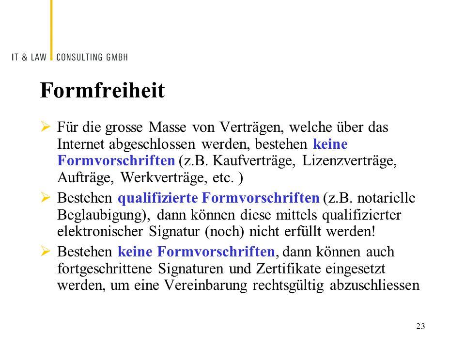 Formfreiheit  Für die grosse Masse von Verträgen, welche über das Internet abgeschlossen werden, bestehen keine Formvorschriften (z.B.