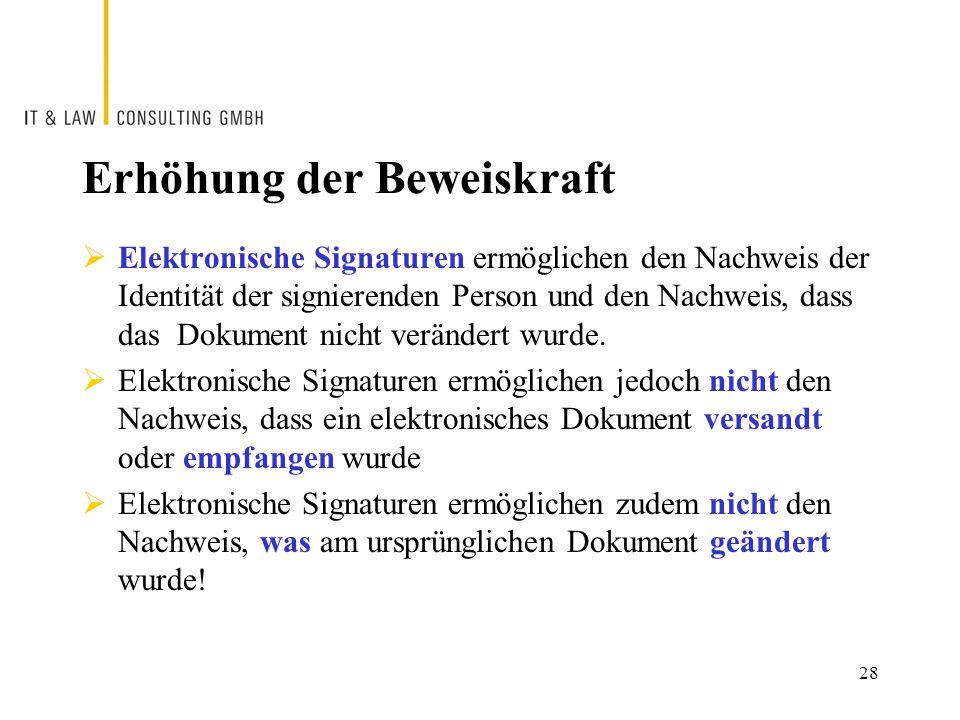 Erhöhung der Beweiskraft  Elektronische Signaturen ermöglichen den Nachweis der Identität der signierenden Person und den Nachweis, dass das Dokument nicht verändert wurde.
