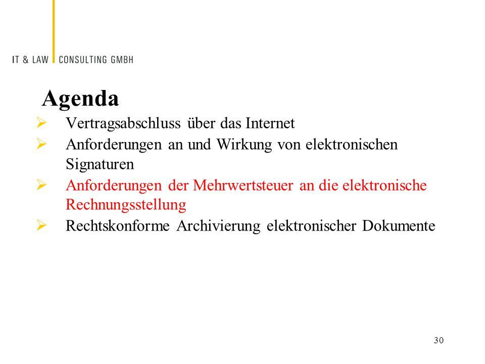 30 Agenda  Vertragsabschluss über das Internet  Anforderungen an und Wirkung von elektronischen Signaturen  Anforderungen der Mehrwertsteuer an die elektronische Rechnungsstellung  Rechtskonforme Archivierung elektronischer Dokumente
