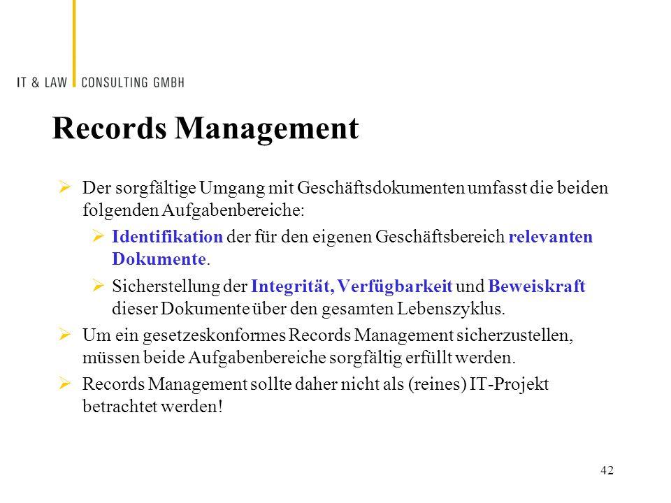 Records Management  Der sorgfältige Umgang mit Geschäftsdokumenten umfasst die beiden folgenden Aufgabenbereiche:  Identifikation der für den eigenen Geschäftsbereich relevanten Dokumente.