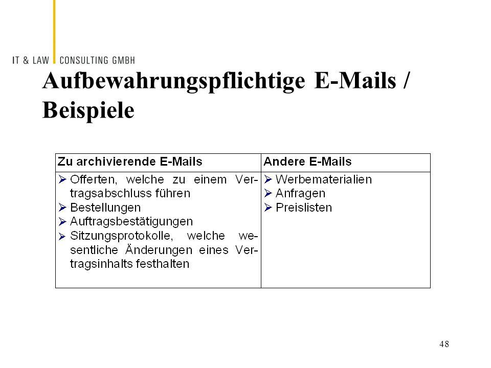 Aufbewahrungspflichtige E-Mails / Beispiele 48
