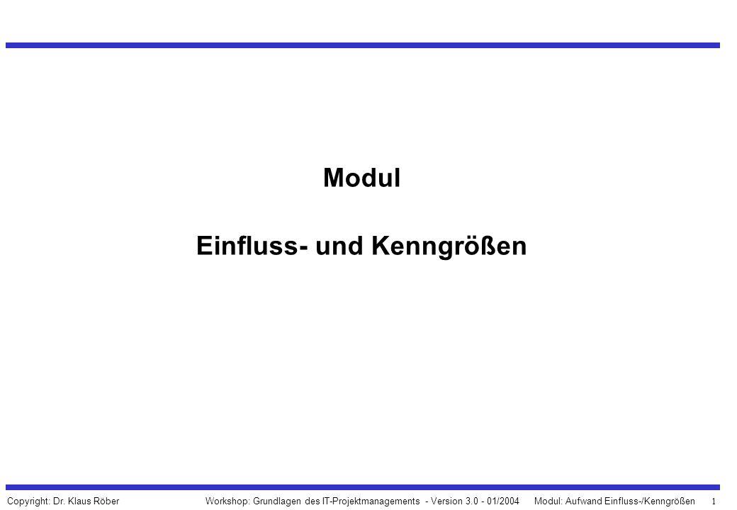 1 Workshop: Grundlagen des IT-Projektmanagements - Version 3.0 - 01/2004Modul: Aufwand Einfluss-/Kenngrößen Copyright: Dr. Klaus Röber Modul Einfluss-