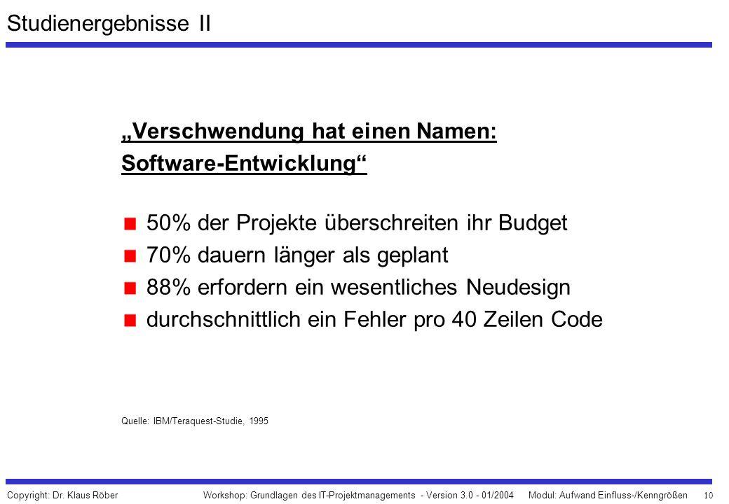 """10 Workshop: Grundlagen des IT-Projektmanagements - Version 3.0 - 01/2004Modul: Aufwand Einfluss-/Kenngrößen Copyright: Dr. Klaus Röber """"Verschwendung"""