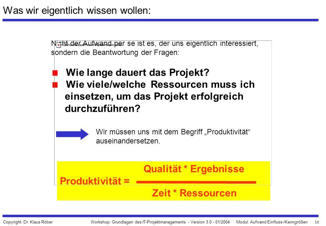 16 Workshop: Grundlagen des IT-Projektmanagements - Version 3.0 - 01/2004Modul: Aufwand Einfluss-/Kenngrößen Copyright: Dr. Klaus Röber Was wir eigent