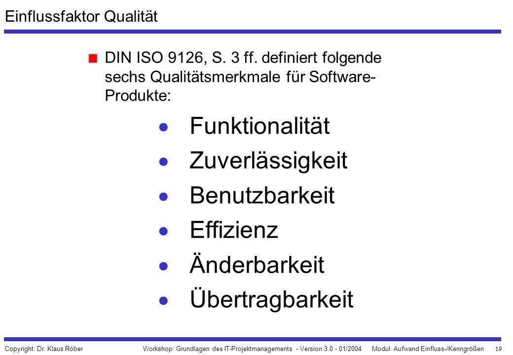 19 Workshop: Grundlagen des IT-Projektmanagements - Version 3.0 - 01/2004Modul: Aufwand Einfluss-/Kenngrößen Copyright: Dr. Klaus Röber Einflussfaktor
