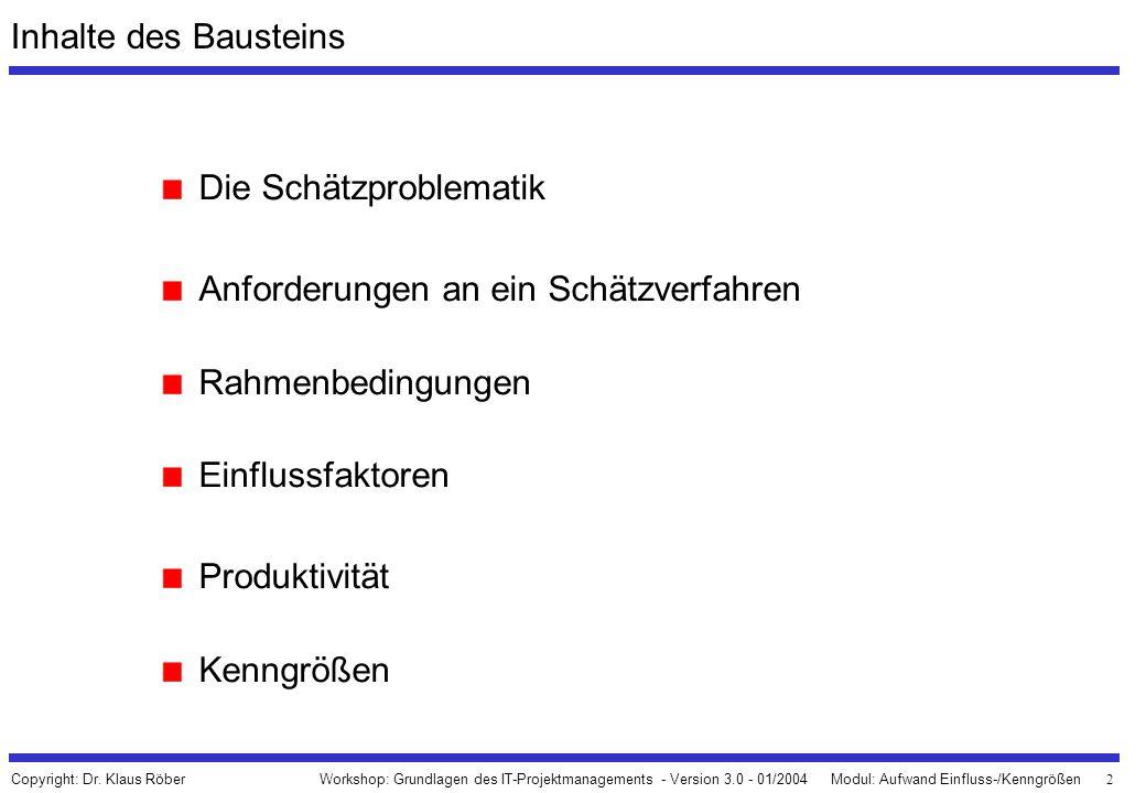 2 Workshop: Grundlagen des IT-Projektmanagements - Version 3.0 - 01/2004Modul: Aufwand Einfluss-/Kenngrößen Copyright: Dr. Klaus Röber Inhalte des Bau